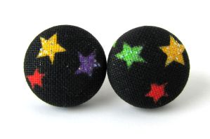Stud earrings glitters stars black yellow green by KooKooCraft