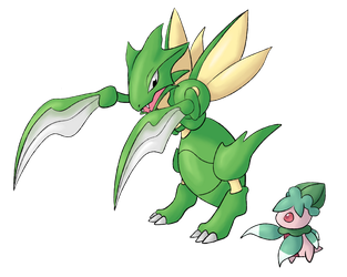 Scyther and Fomantis by apple-123