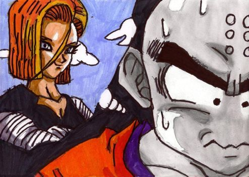 Krillin thinking of Android 18 by ChahlesXavier