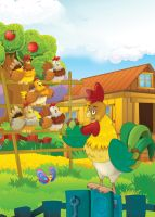 rooster and chickens by honeyflavourcom