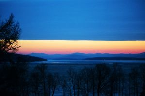Sunrise on Frozen Champlain by rongiveans