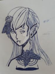 OC : Marine, gothic woman (line) by SeishinChan