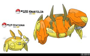 119 - 120: Crustacean Fakemon by LeafyHeart