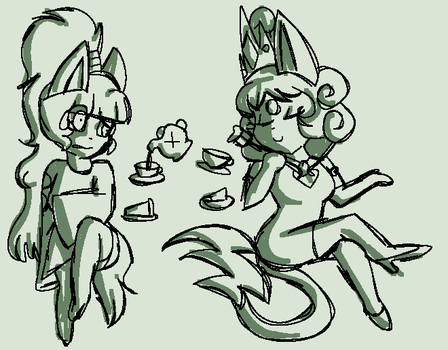 Cake and Tea by CandyPurpleCat