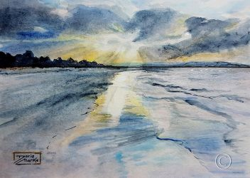 World Watercolor Month - Day 28 (Sunset Rays) by Harmony1965