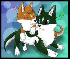 Wolf link and Wolf Tetra chibis by SadowWolfKACT