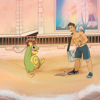 ::Pokemon Township:: Cleaning up the beach! by LindyLizards