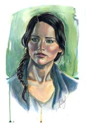 Katniss Everdeen in acrylics :) by Bella-Rachlin
