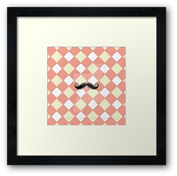 Checked and Mustache Framed Print by PhotoshopGirl29