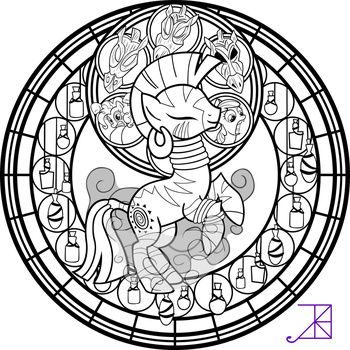 Stained Glass: Zecora -line art- -with smoke- by Akili-Amethyst