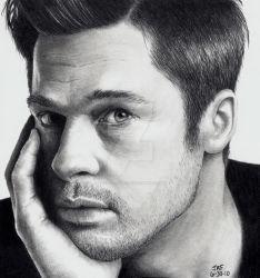 Brad Pitt - Hand on Face by Doctor-Pencil