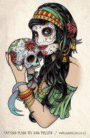 Gypsy and sugar skull by Sam-Phillips-NZ