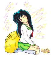 Kagome and her bag by Minxzie