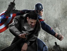 Captain America vs The Punisher by Timetravel6000v2