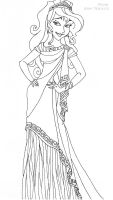 Megara deluxe gown lineart by LadyAmber
