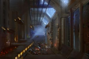 quick sci fi painting - city by onestepart