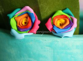Rainbow Rose Earrings by Mariquez