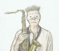 David Bowie holding his saxophone by gagambo