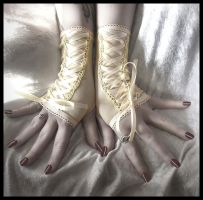 Ivory Corset Fingerless Gloves by ZenAndCoffee