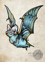 Bat. New schooll. Neo traditional tattoo sketch. by AsikaArt