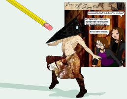 Pyramid Head V.S. ERASER by TheJennyPill