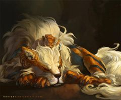 Arcanine and vulpix