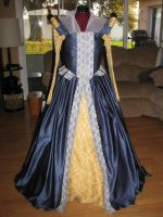 Blue and Gold Elizabethan Gown by jjnshane