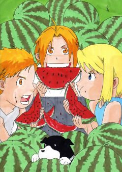 Ed, Al and Winry eat watermelons by IshidaYuki