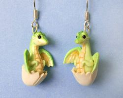 Baby Dragon Earrings by DragonsAndBeasties