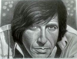 Portrait of young Leonard Cohen by TalyaDunleavyArtist
