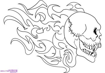 Hd How To Draw Flaming Skull Step By