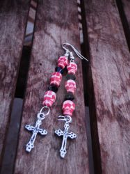 Red Skull + Cross Earrings by Tattooed-Gumball