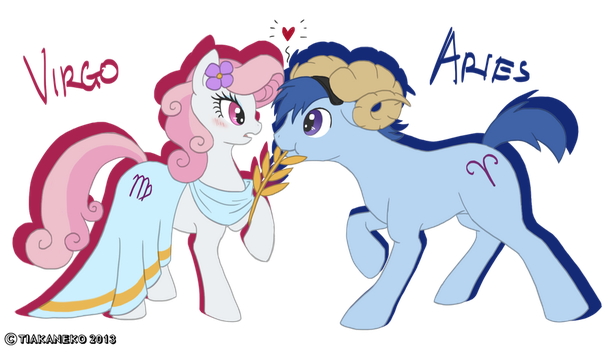Aries x Virgo ponies by tiakaneko