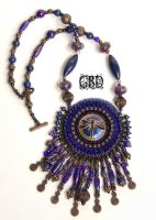 deep blue night set necklace by gbdreams