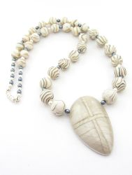 Silver and white Mokume Gane Necklace by Ravensilver