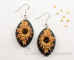 Gold and Black Autumn Night Polymer Clay Earrings by DeidreDreams