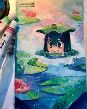 Tsuyu and her froggy friends  by kristen1204