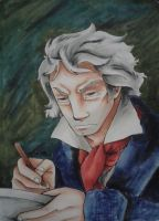 Cartoonized Portrait 1: Older Ludwig van Beethoven by Livi-Livered