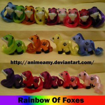 Rainbow of Foxes by AnimeAmy