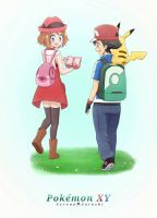 Pokemon XY Serena and Ash  by MuchBlock10