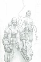 Hellboy and Abe Sapien Commision by MichaelBroussard