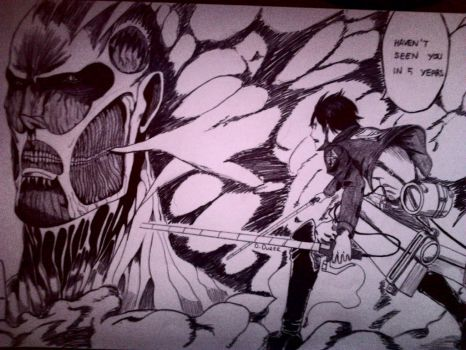 Eren vs Colossal Titan by HollyPolly15