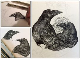Crows and Roses Work in Progress by LKBurke29