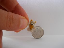 OOAK micro miniature jointed fluffy mustard bear by tweebears