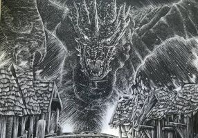 Smaug Scratchboard by SerperiorGL