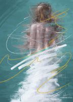 Digital Abstract Act Painting of a Woman by MichaelAdamidisArt