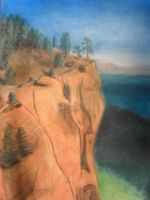 Trees on a cliff (Pastel) by Messinground
