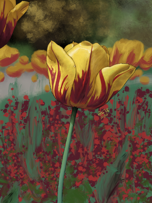 Fire Tulip - Procreate Painting by PonellaToon