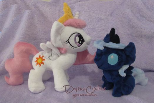 Filly Celestia and Baby Luna by Gypmina