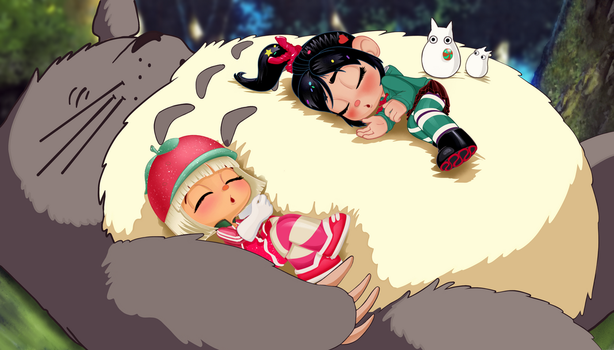 Vanellope and Taffyta with Totoro - Nappy Time by artistsncoffeeshops